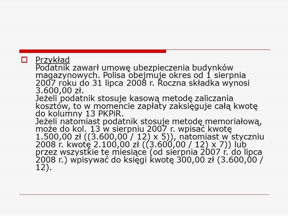 Przykład Podatnik zawarł umowę ubezpieczenia budynków magazynowych