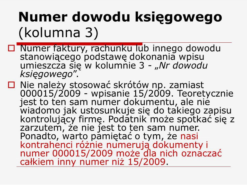 Numer dowodu księgowego (kolumna 3)