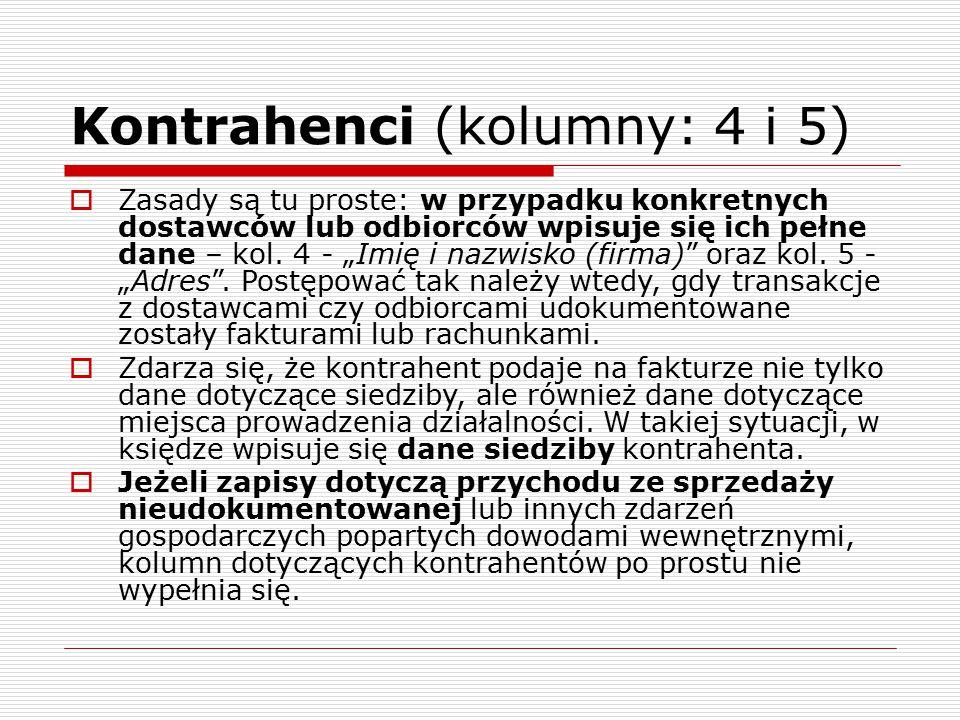 Kontrahenci (kolumny: 4 i 5)