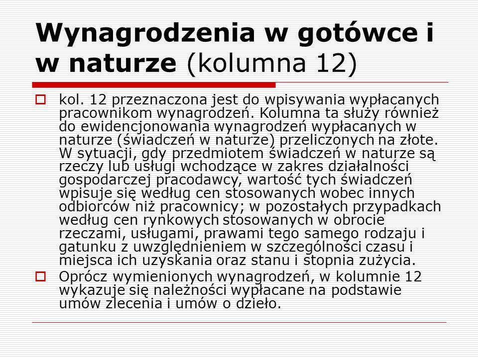 Wynagrodzenia w gotówce i w naturze (kolumna 12)