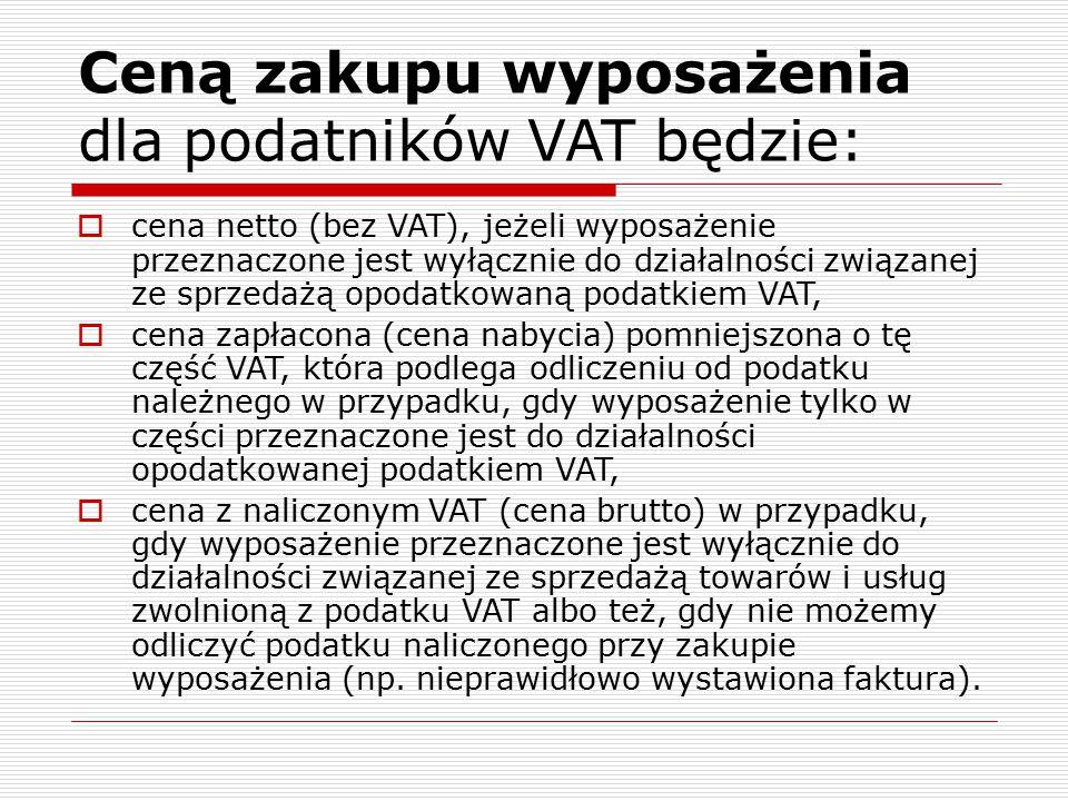 Ceną zakupu wyposażenia dla podatników VAT będzie: