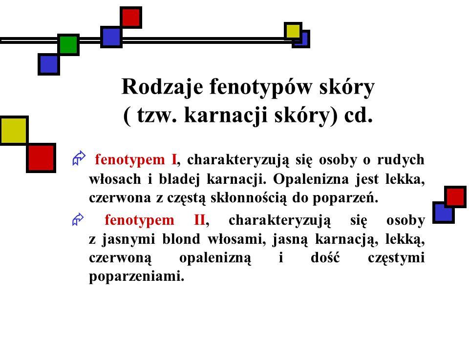 Rodzaje fenotypów skóry ( tzw. karnacji skóry) cd.