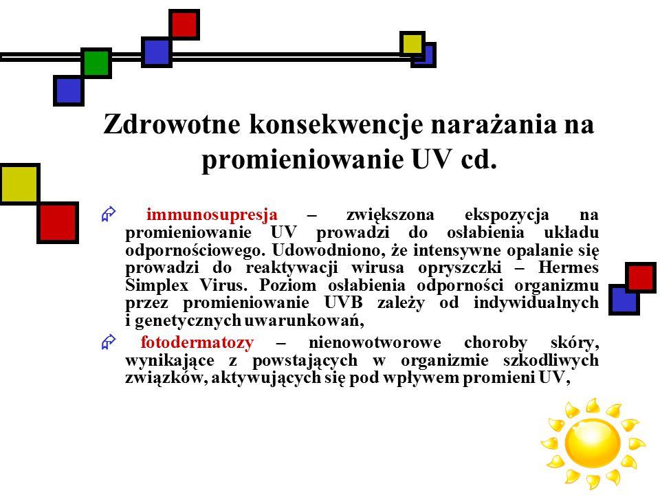 Zdrowotne konsekwencje narażania na promieniowanie UV cd.