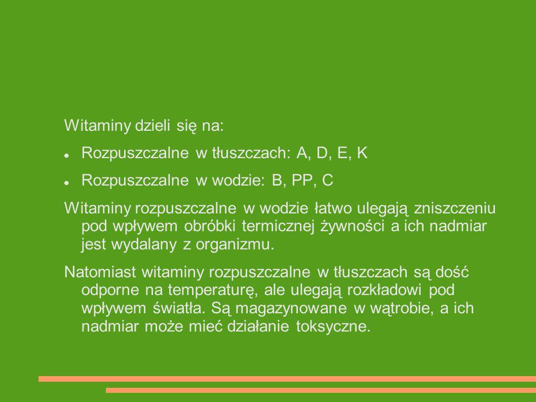 Witaminy dzieli się na: