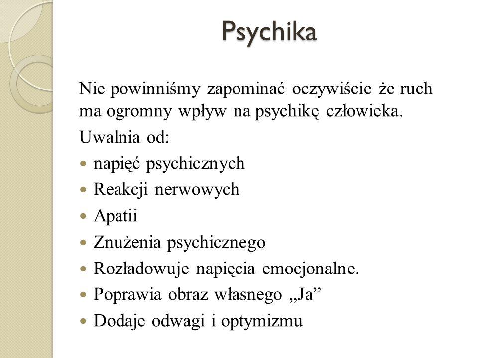 Psychika Nie powinniśmy zapominać oczywiście że ruch ma ogromny wpływ na psychikę człowieka. Uwalnia od: