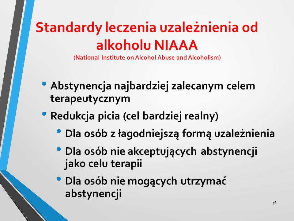 Standardy leczenia uzależnienia od alkoholu NIAAA (National Institute on Alcohol Abuse and Alcoholism)