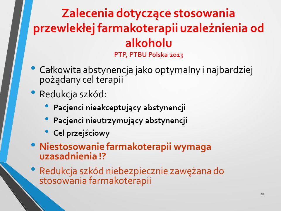 Zalecenia dotyczące stosowania przewlekłej farmakoterapii uzależnienia od alkoholu PTP, PTBU Polska 2013