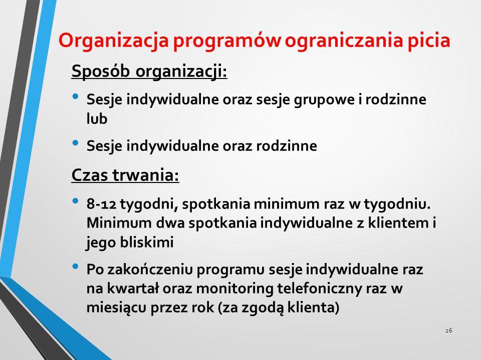 Organizacja programów ograniczania picia