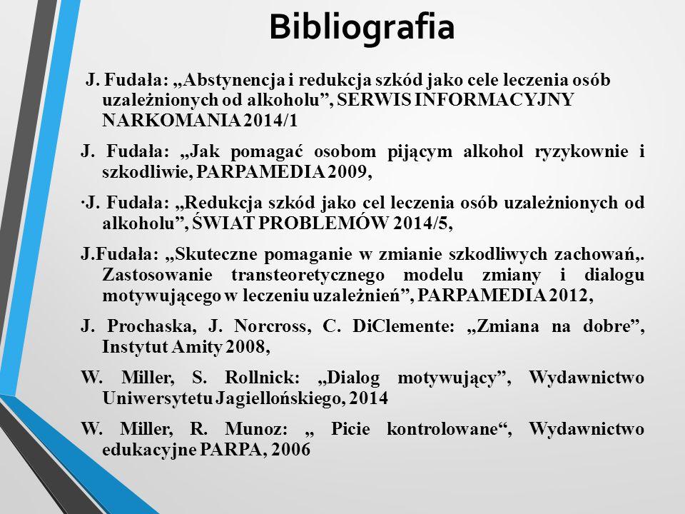 """Bibliografia J. Fudała: """"Abstynencja i redukcja szkód jako cele leczenia osób uzależnionych od alkoholu , SERWIS INFORMACYJNY NARKOMANIA 2014/1."""