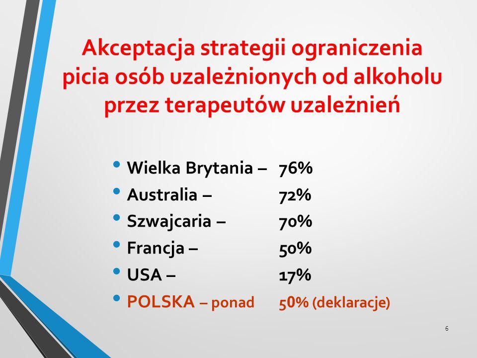 Akceptacja strategii ograniczenia picia osób uzależnionych od alkoholu przez terapeutów uzależnień