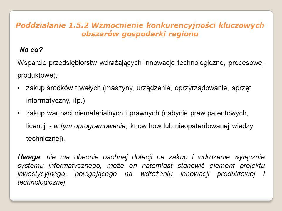 Poddziałanie 1.5.2 Wzmocnienie konkurencyjności kluczowych obszarów gospodarki regionu