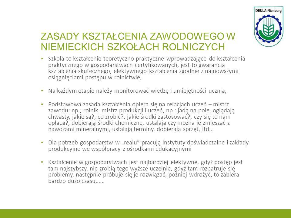 Zasady kształcenia zawodowego w niemieckich szkołach rolniczych