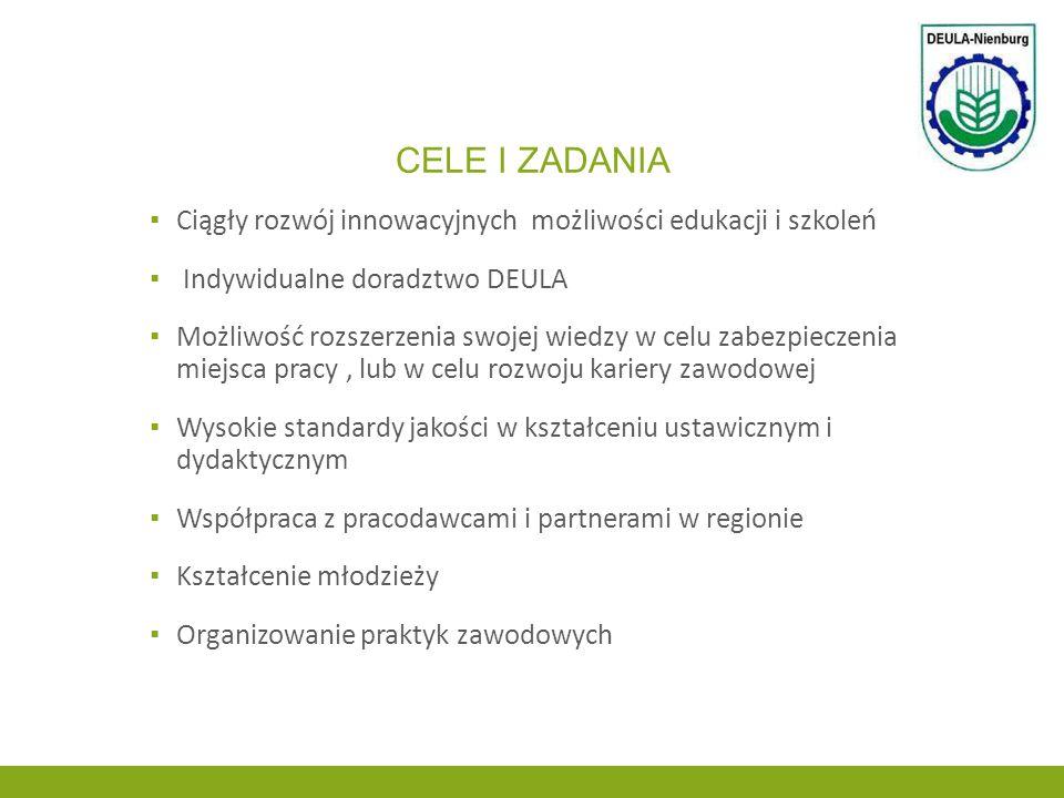 Cele i zadania Ciągły rozwój innowacyjnych możliwości edukacji i szkoleń. Indywidualne doradztwo DEULA.
