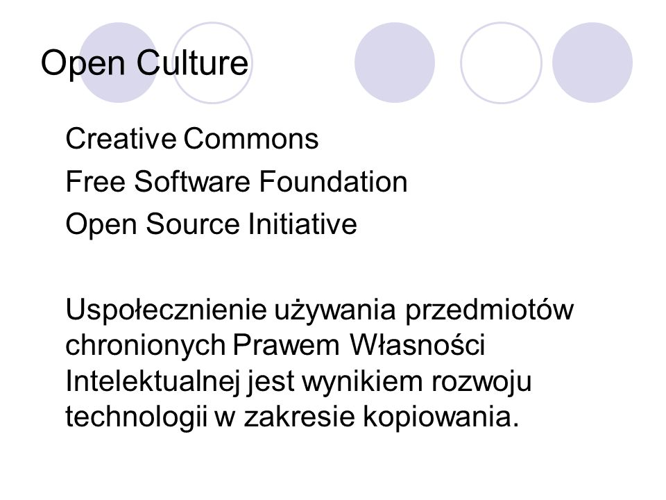 Open Culture Creative Commons Free Software Foundation