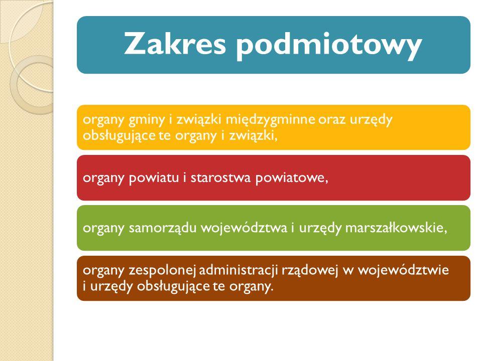 Zakres podmiotowy organy gminy i związki międzygminne oraz urzędy obsługujące te organy i związki,