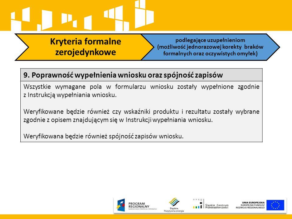 Kryteria formalne zerojedynkowe