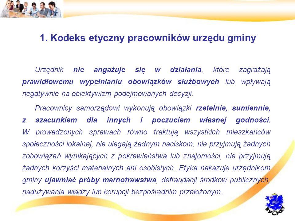 1. Kodeks etyczny pracowników urzędu gminy