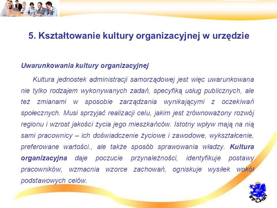 5. Kształtowanie kultury organizacyjnej w urzędzie