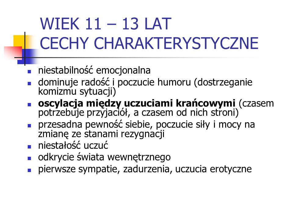 WIEK 11 – 13 LAT CECHY CHARAKTERYSTYCZNE
