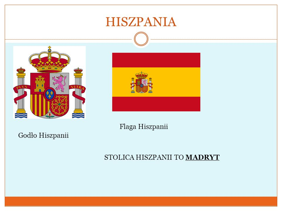 HISZPANIA Flaga Hiszpanii Godło Hiszpanii STOLICA HISZPANII TO MADRYT