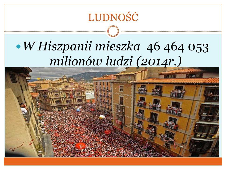 W Hiszpanii mieszka 46 464 053 milionów ludzi (2014r.)