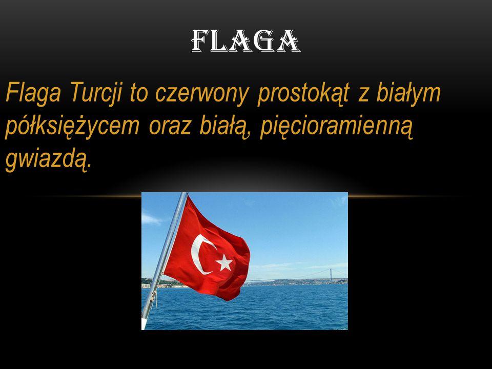 Flaga Flaga Turcji to czerwony prostokąt z białym półksiężycem oraz białą, pięcioramienną gwiazdą.