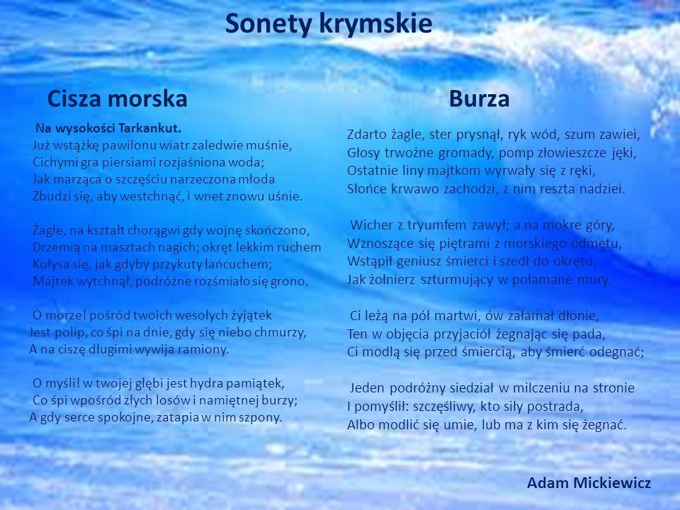 Sonety krymskie Cisza morska Burza Adam Mickiewicz