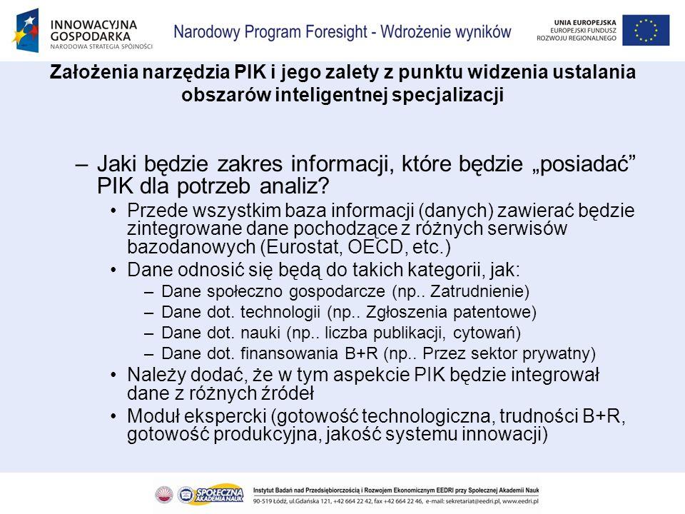 Założenia narzędzia PIK i jego zalety z punktu widzenia ustalania obszarów inteligentnej specjalizacji