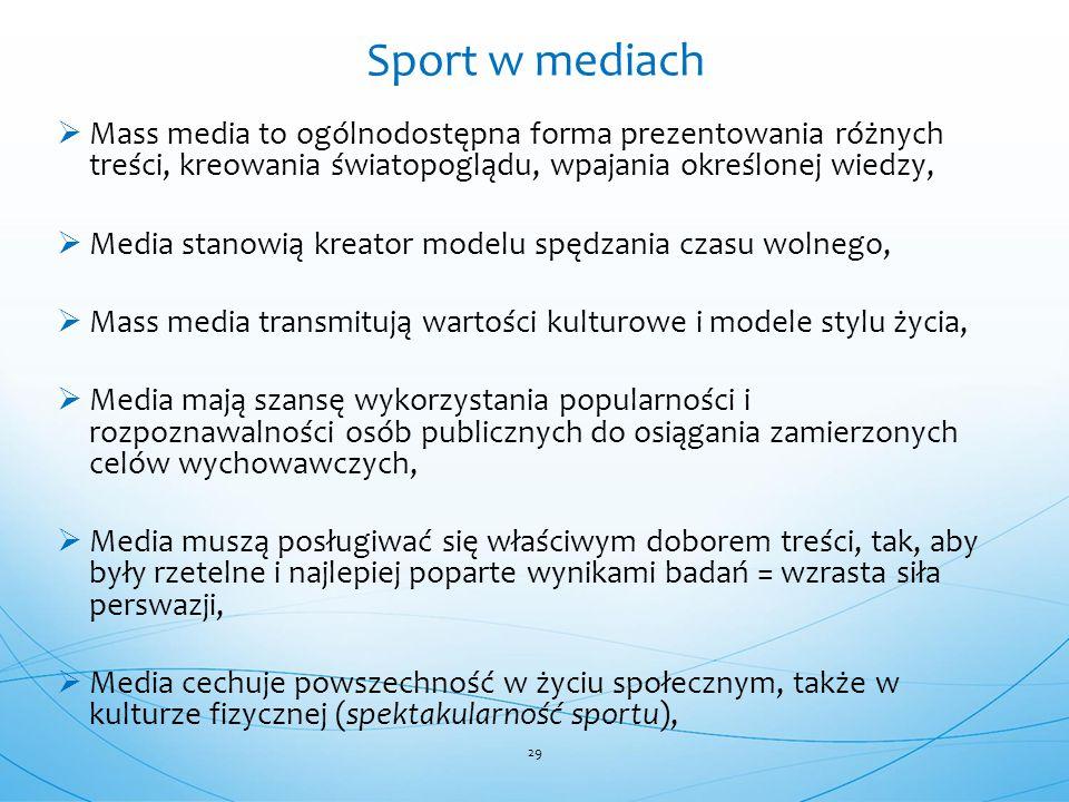 Sport w mediach Mass media to ogólnodostępna forma prezentowania różnych treści, kreowania światopoglądu, wpajania określonej wiedzy,