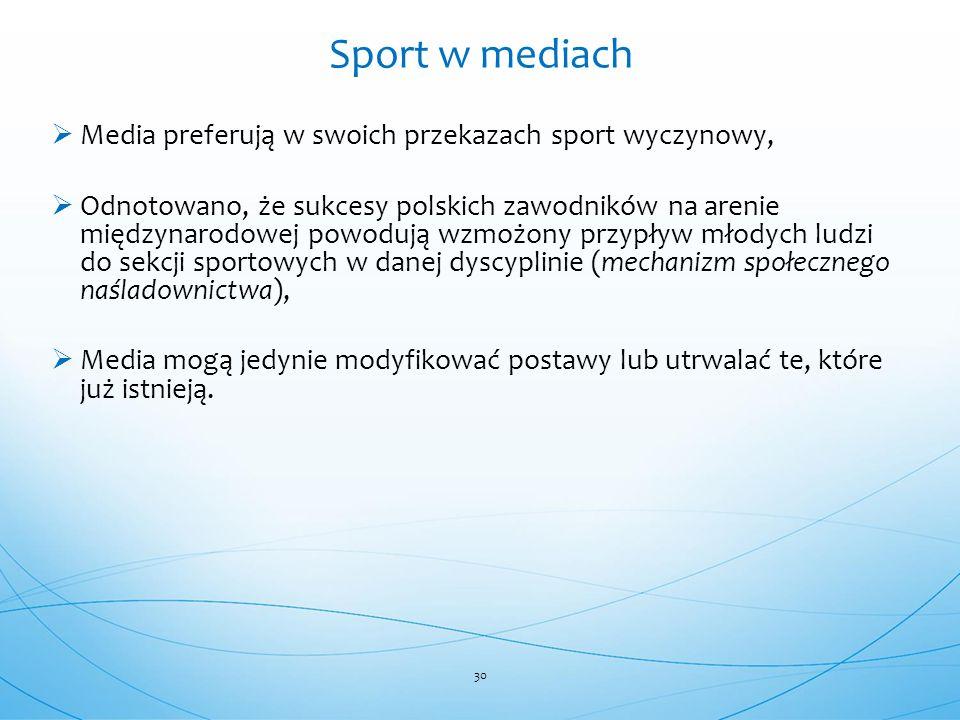 Sport w mediach Media preferują w swoich przekazach sport wyczynowy,