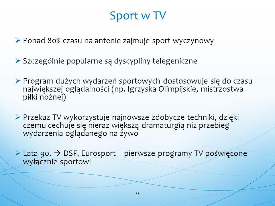 Sport w TV Ponad 80% czasu na antenie zajmuje sport wyczynowy