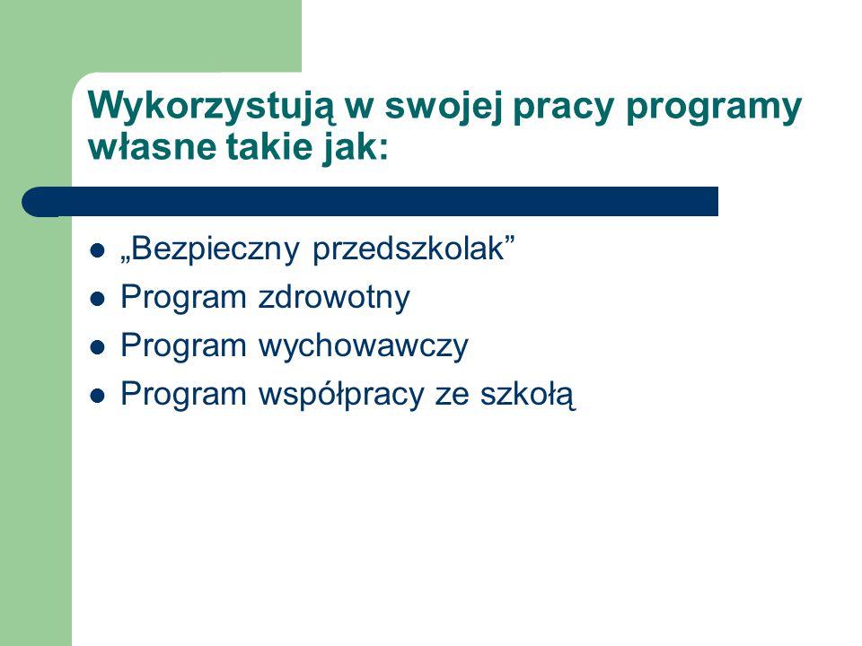 Wykorzystują w swojej pracy programy własne takie jak: