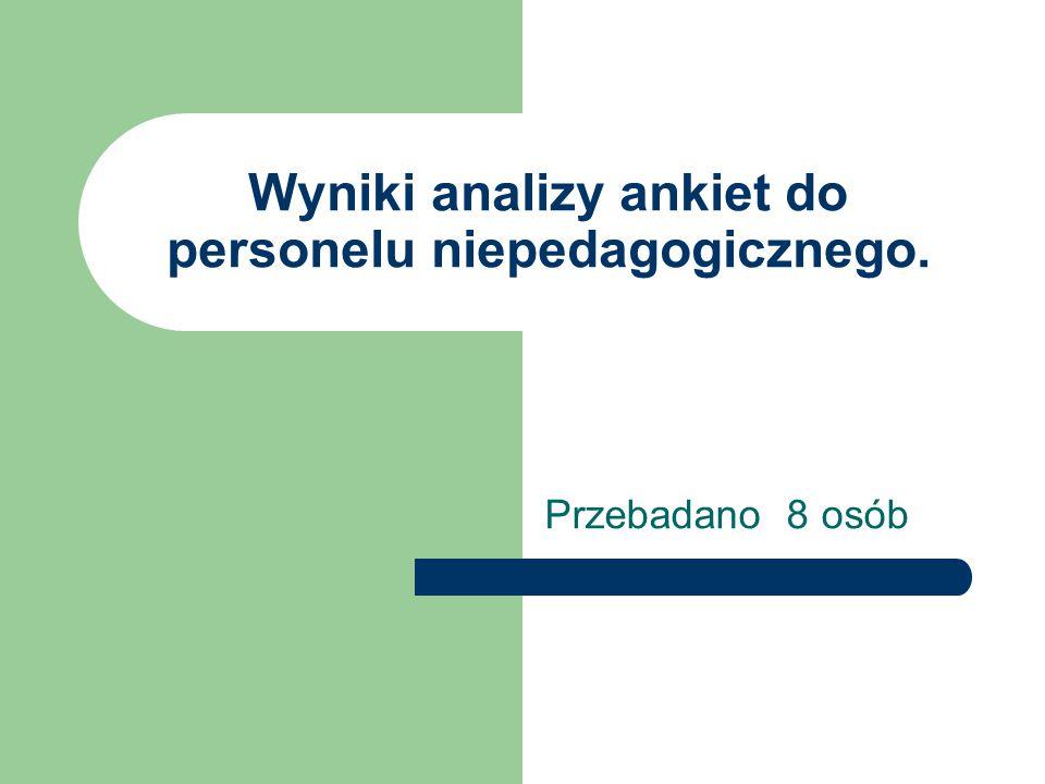 Wyniki analizy ankiet do personelu niepedagogicznego.