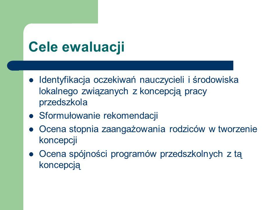 Cele ewaluacji Identyfikacja oczekiwań nauczycieli i środowiska lokalnego związanych z koncepcją pracy przedszkola.