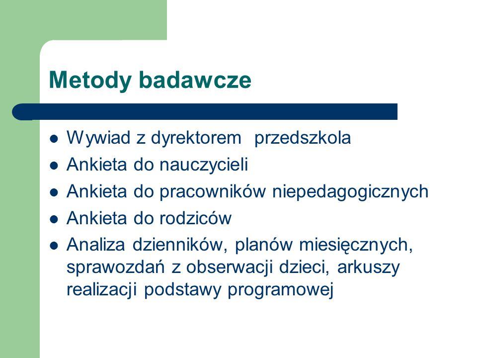 Metody badawcze Wywiad z dyrektorem przedszkola Ankieta do nauczycieli