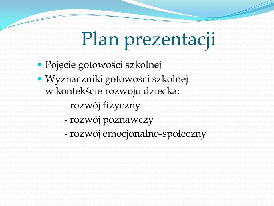 Plan prezentacji Pojęcie gotowości szkolnej