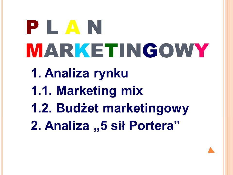 P L A N MARKETINGOWY 1. Analiza rynku 1.1. Marketing mix