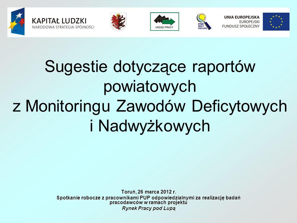 Sugestie dotyczące raportów powiatowych z Monitoringu Zawodów Deficytowych i Nadwyżkowych