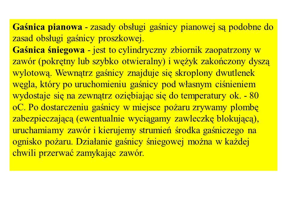 Gaśnica pianowa - zasady obsługi gaśnicy pianowej są podobne do zasad obsługi gaśnicy proszkowej.