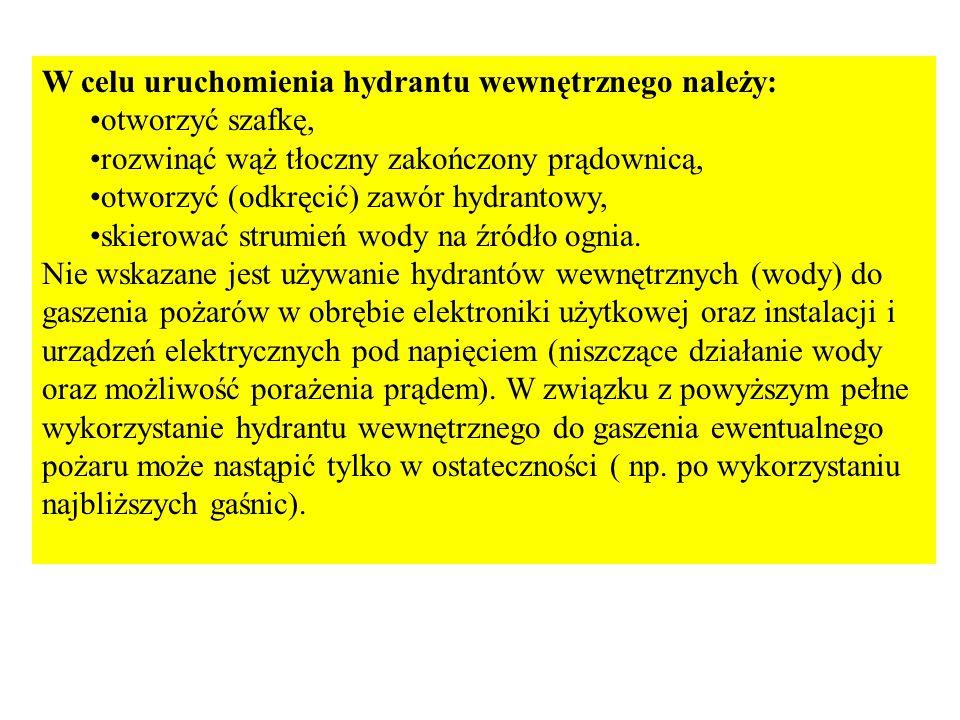 W celu uruchomienia hydrantu wewnętrznego należy: