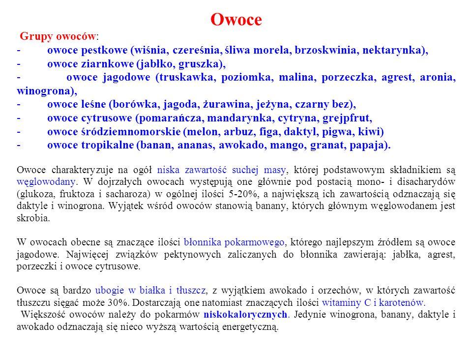 Owoce Grupy owoców: - owoce pestkowe (wiśnia, czereśnia, śliwa morela, brzoskwinia, nektarynka),