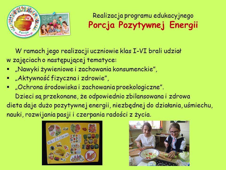 Realizacja programu edukacyjnego Porcja Pozytywnej Energii