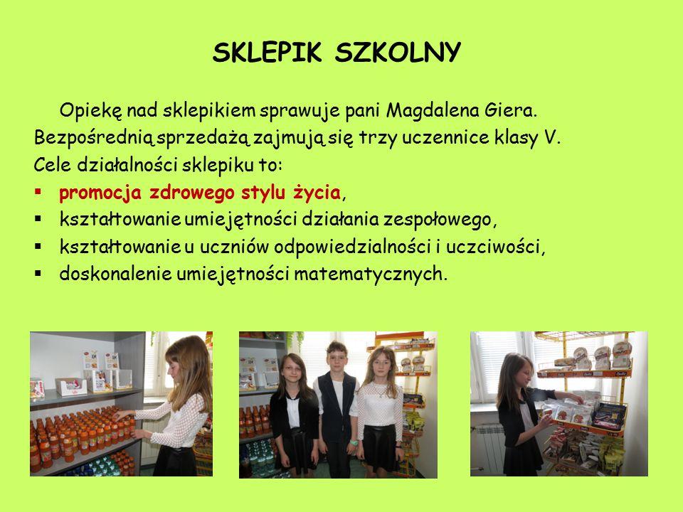 SKLEPIK SZKOLNY Opiekę nad sklepikiem sprawuje pani Magdalena Giera.