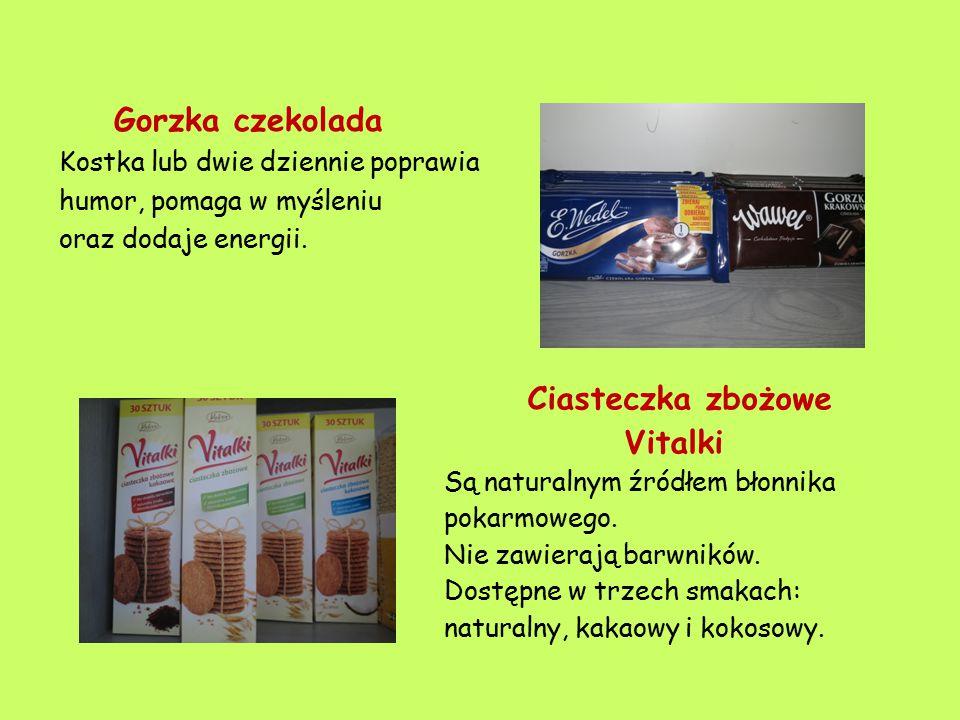 Gorzka czekolada Kostka lub dwie dziennie poprawia. humor, pomaga w myśleniu. oraz dodaje energii.