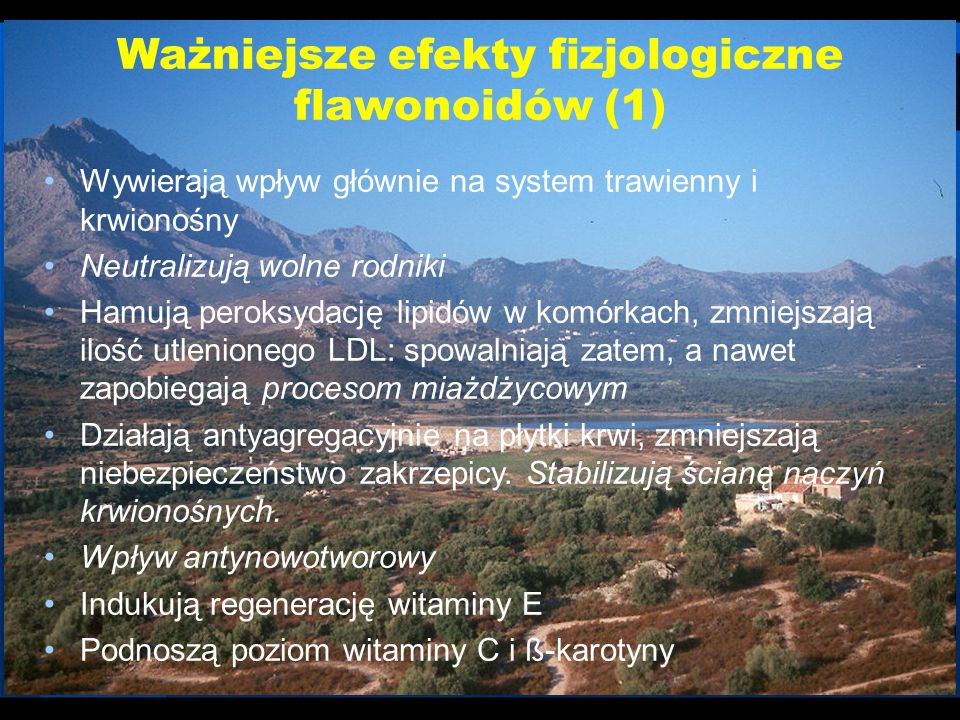 Ważniejsze efekty fizjologiczne flawonoidów (1)