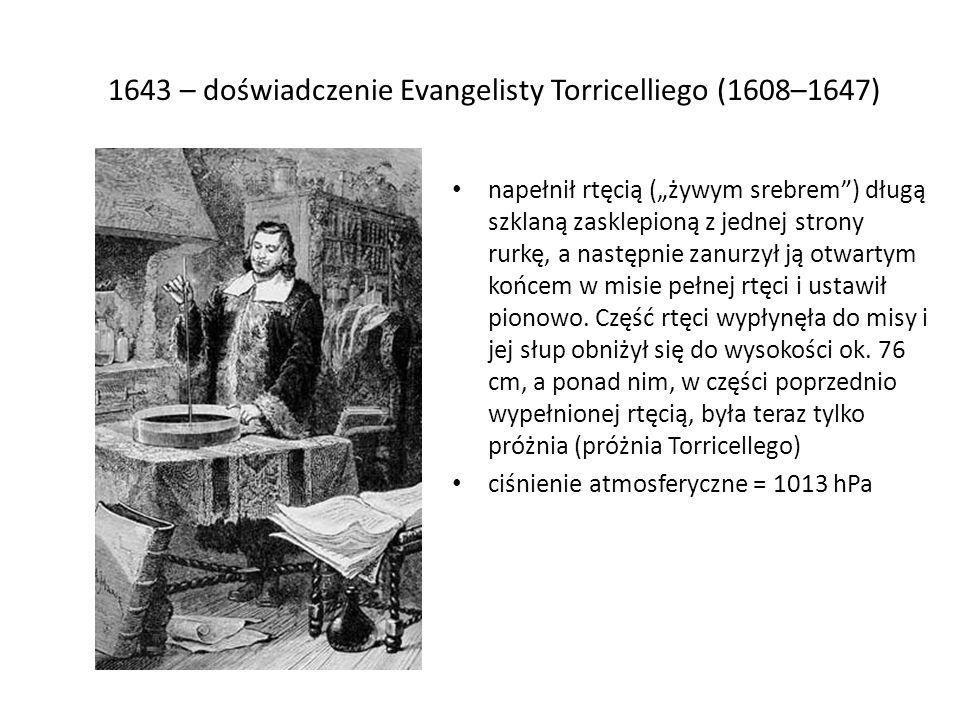 1643 – doświadczenie Evangelisty Torricelliego (1608–1647)