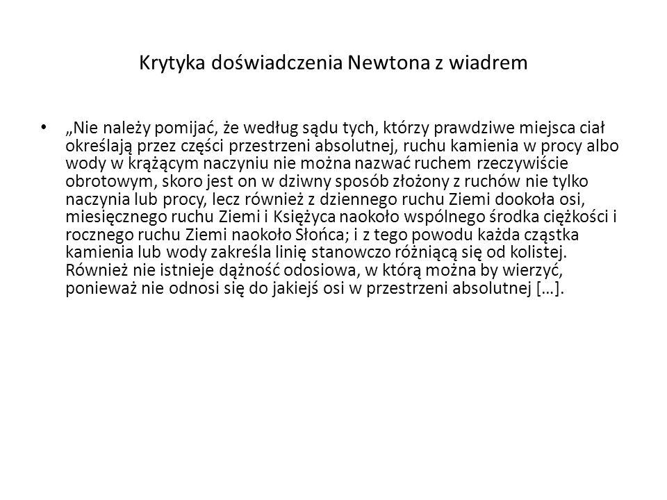 Krytyka doświadczenia Newtona z wiadrem