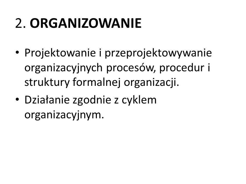 2. ORGANIZOWANIE Projektowanie i przeprojektowywanie organizacyjnych procesów, procedur i struktury formalnej organizacji.