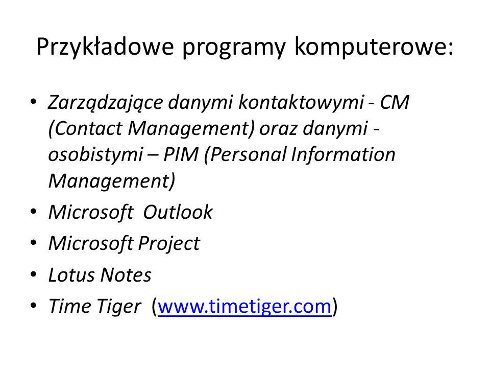 Przykładowe programy komputerowe: