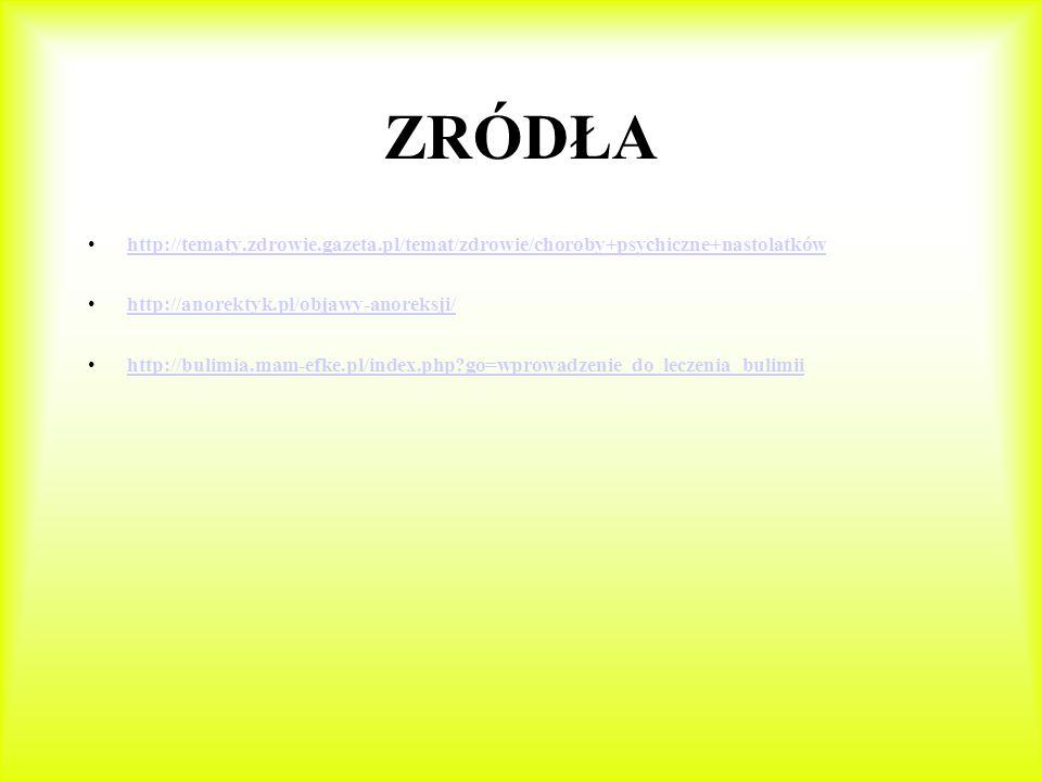 ZRÓDŁA http://tematy.zdrowie.gazeta.pl/temat/zdrowie/choroby+psychiczne+nastolatków. http://anorektyk.pl/objawy-anoreksji/